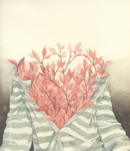 Pintura Aquarela: Ensaio sobre a liberdade 1, 2016 Aquarela sobre Canson Edition Creme 22x24cm Série: O Corpo Árvore Coleção particular. Peça leiloada durante Feira Livre de Arte Contemporânea de BH, em 2017.