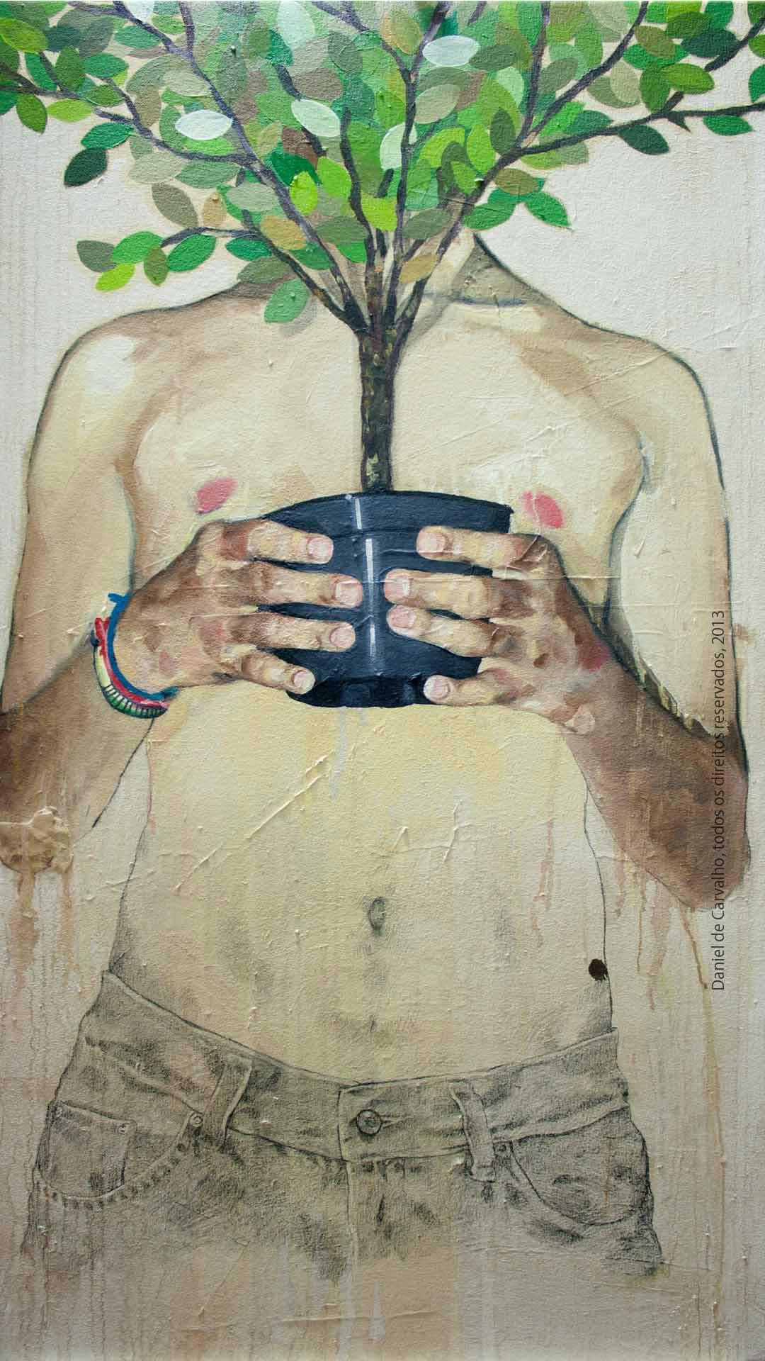 Pintura a óleo: Pensamento Vivo é Eterno e Ascendente, 2013 Óleo sobre tela, 69 x 120 cm Série O Corpo Árvore