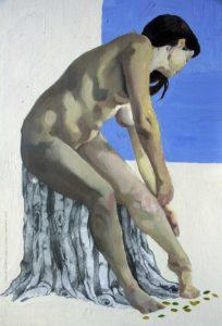 Pintura a óleo: Poda 30x20cm Óleo e colagem sobre madeira - Daniel de Carvalho, 2014