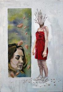 Pintura à óleo Sobre a Troca, 2016 Óleo Sobre Tela, 30 x 40cm Série: O Corpo Árvore
