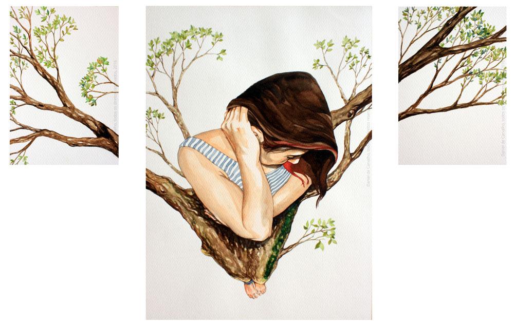 T, 2016 Tríptico, aquarela sobre papel fabriano 56,6 x 40,1 cm Série: O Corpo Árvore