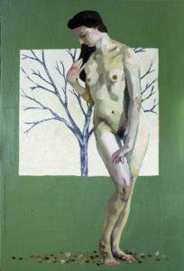 Pintura a óleo: Abscisão 30x20cm Óleo e colagem sobre madeira - Daniel de Carvalho, 2014