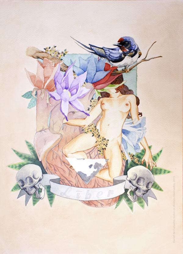 Pintura Aquarela: Līber 2015 Aquarela, café e Acrílica sobre papel 29 x 42 cm Série: O Corpo Árvore