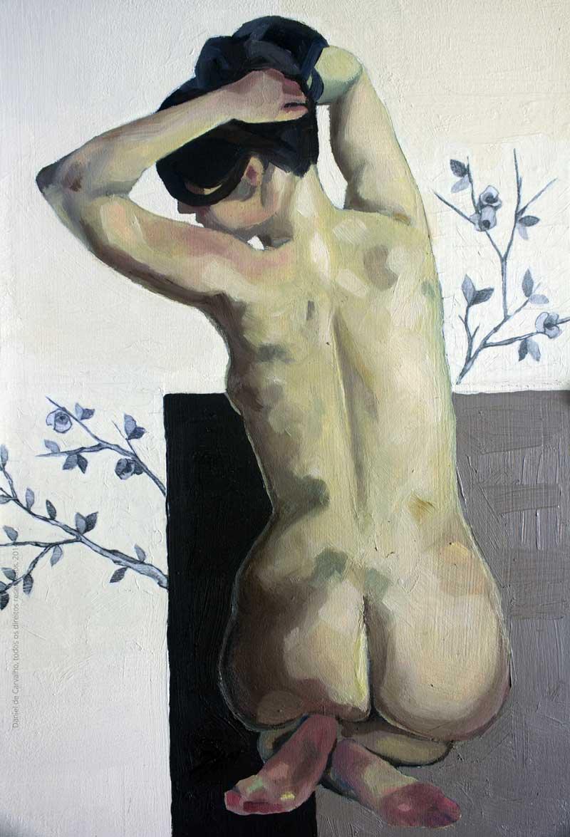 Pintura a óleo: Muda 30x20cm Óleo e colagem sobre madeira - Daniel de Carvalho, 2014