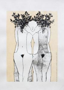 LitoGravura Colheita 2015 24,5-x-33,2-cm-Técnica-Litogravura e aquarela. Série: O Corpo Árvore