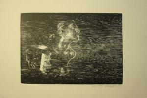 XiloGravura Rapariga Perfil 21x29,7 cm, SXilogravura 2011 tiragem: 4 cópias (esgotada)