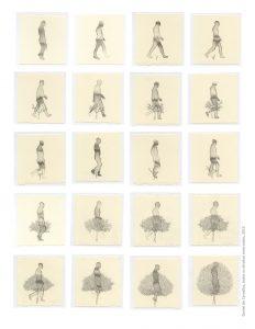 Todo corpo caminha para o mesmo fim - 2015 Dimensões72x21 cmquadro 3mx21cm montada Técnica Aguada e nanquim sobre Cason Edition- Série: O Corpo Árvore