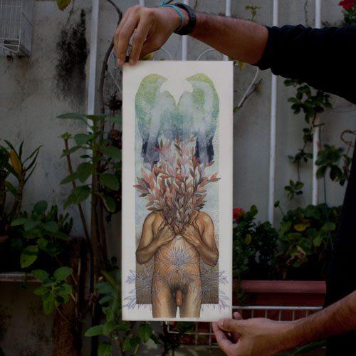 Ensaio sobre a acliberdade 2, Aquarela, Acrílica e Monotipia sobre papel Fabrano 19,5x46cm Série: O Corpo Árvore 2018 DanieldeCarvalho